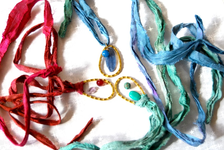 Upcycled silk ribbon yarn necklaces