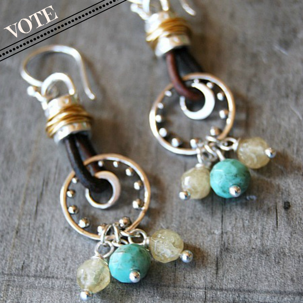Vote- Silver Leather Earrings